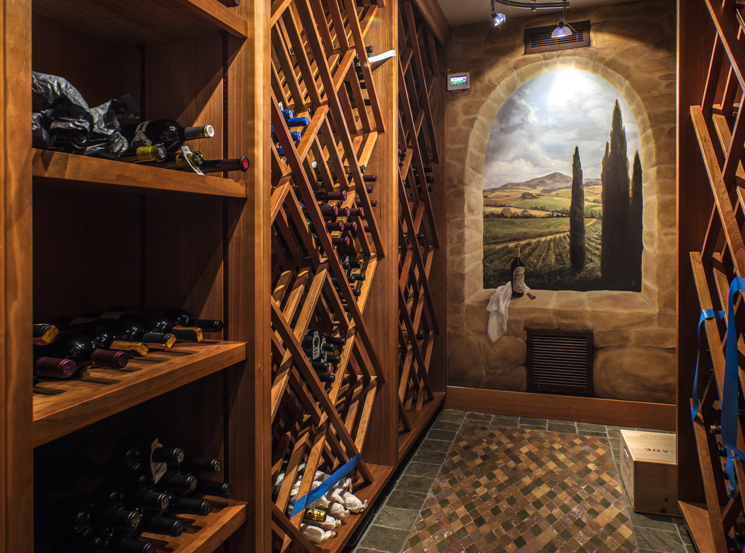 Photo of wine cellar in PNW home designed by Seattle Residential Architect