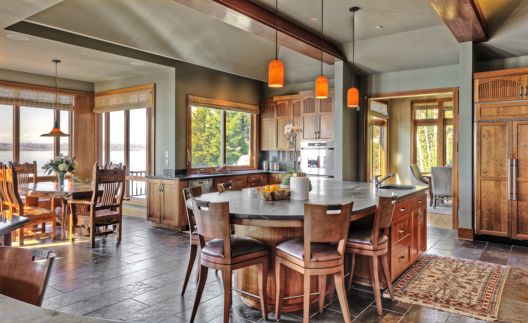 Seattle residential architects TCA designed this high end kitchen and dining room for our clients on Mercer Island on Lake Washington