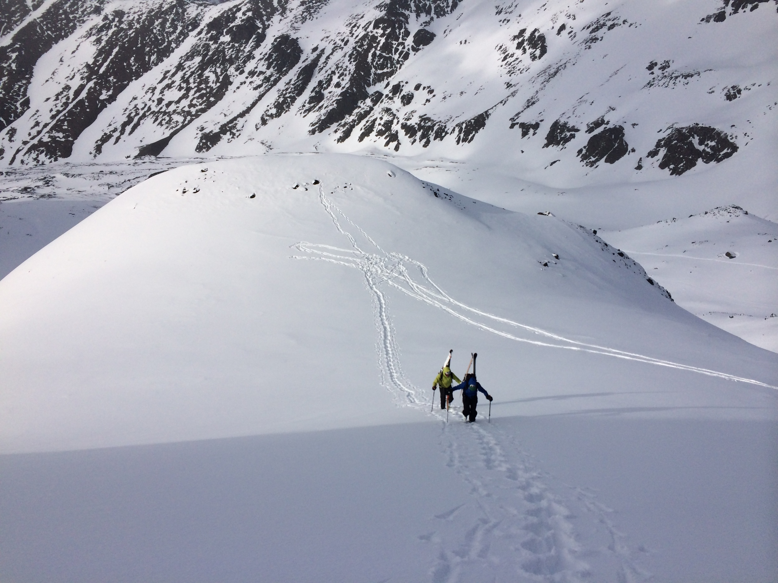 Backcountry skiing in the Chugach Mountains, Alaska. (Photo by Emily Stifler Wolfe)