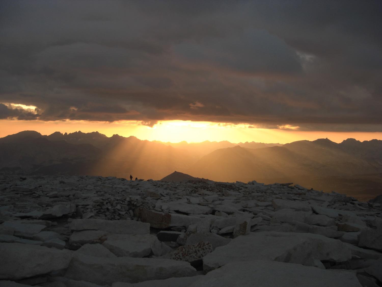 Mount Whitney summit at sunset. High Sierra Mountains, California. (Photo by Emily Stifler Wolfe)