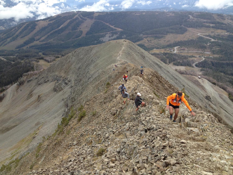 Racers in The Rut 50k run up Alto Ridge at Big Sky Resort. (Photo by Emily Stifler Wolfe)