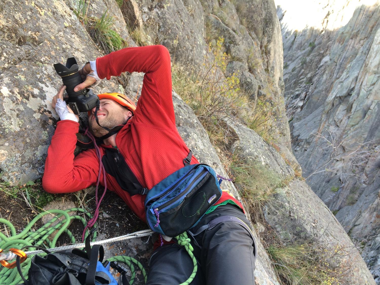Bozeman photographer Jason Thompson shooting a climber. (Photo by Emily Stifler Wolfe)