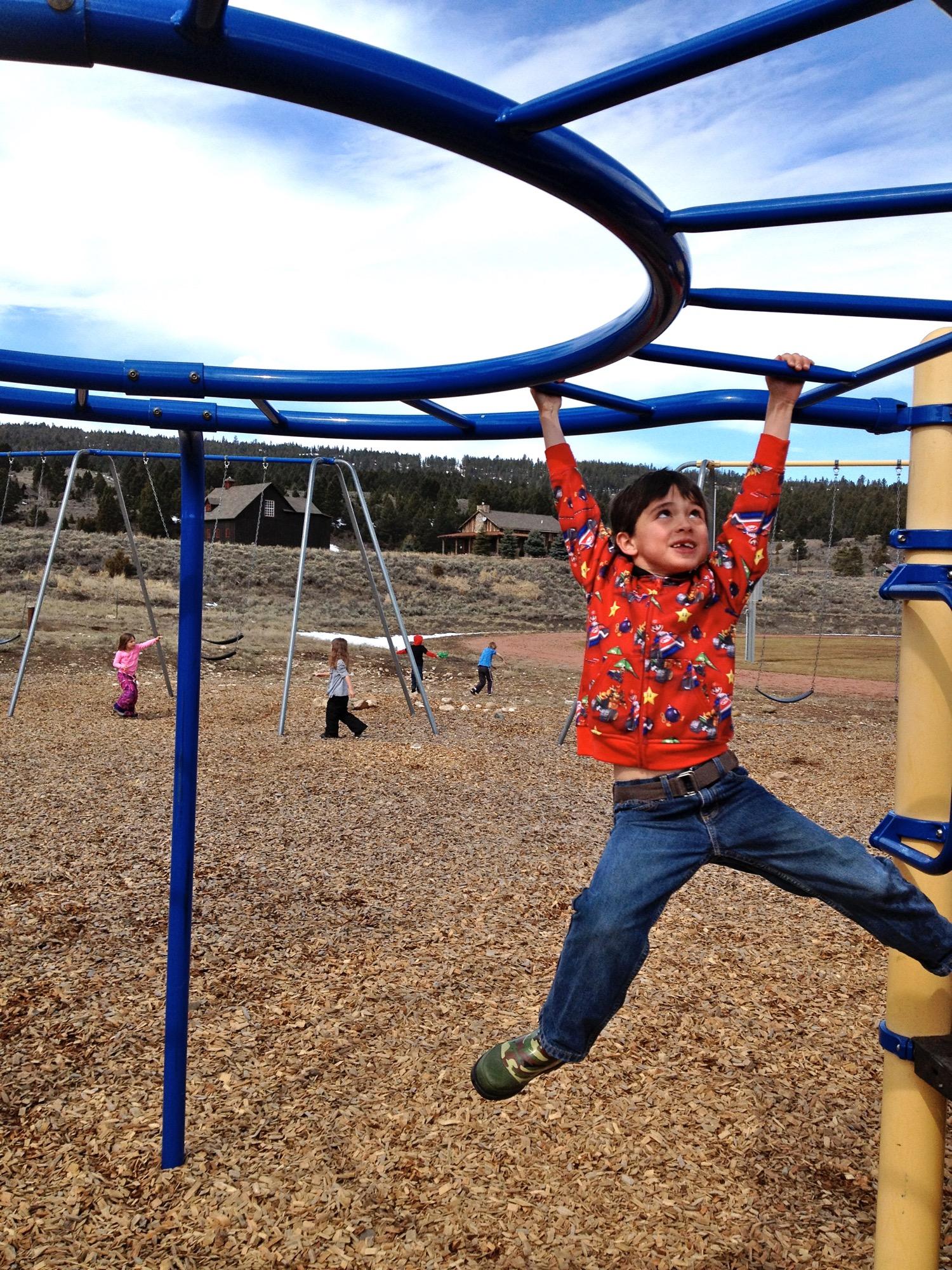 Monkeying around at Ophir School. Big Sky, Montana. (Photo by Emily Stifler Wolfe)