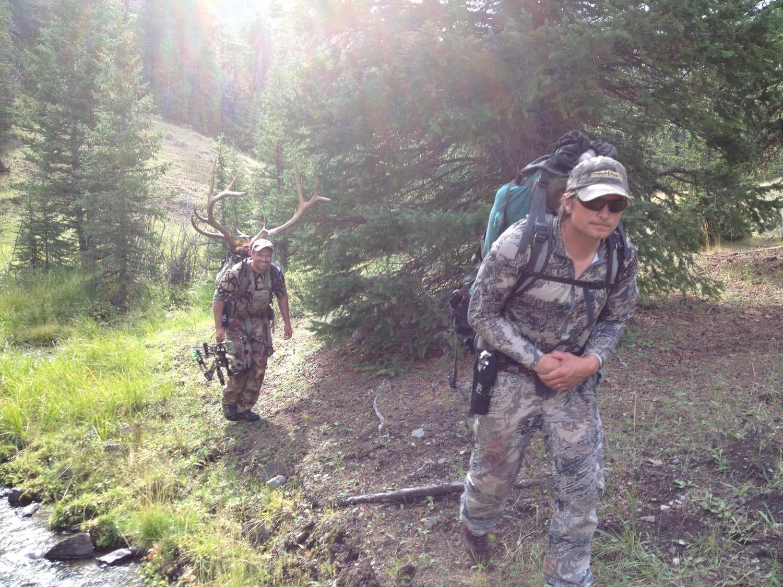 Bull elk down. Opening day of bow hunting season on the Idaho-Montana border. (Photo by Emily Stifler Wolfe)