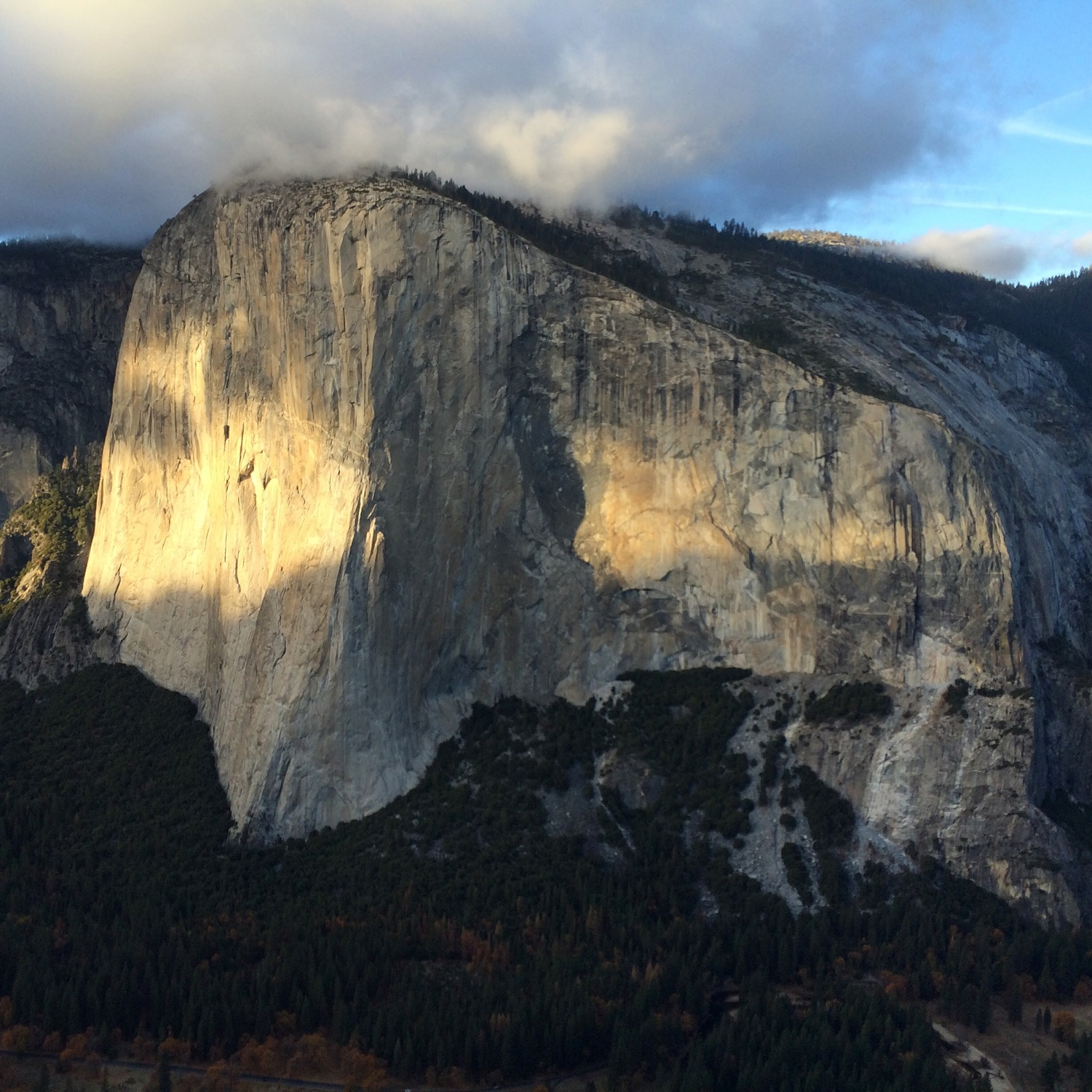 El Capitan at sunset from Lower Cathedral Spire. Yellowstone National Park, California. (Photo by Emily Stifler Wolfe)