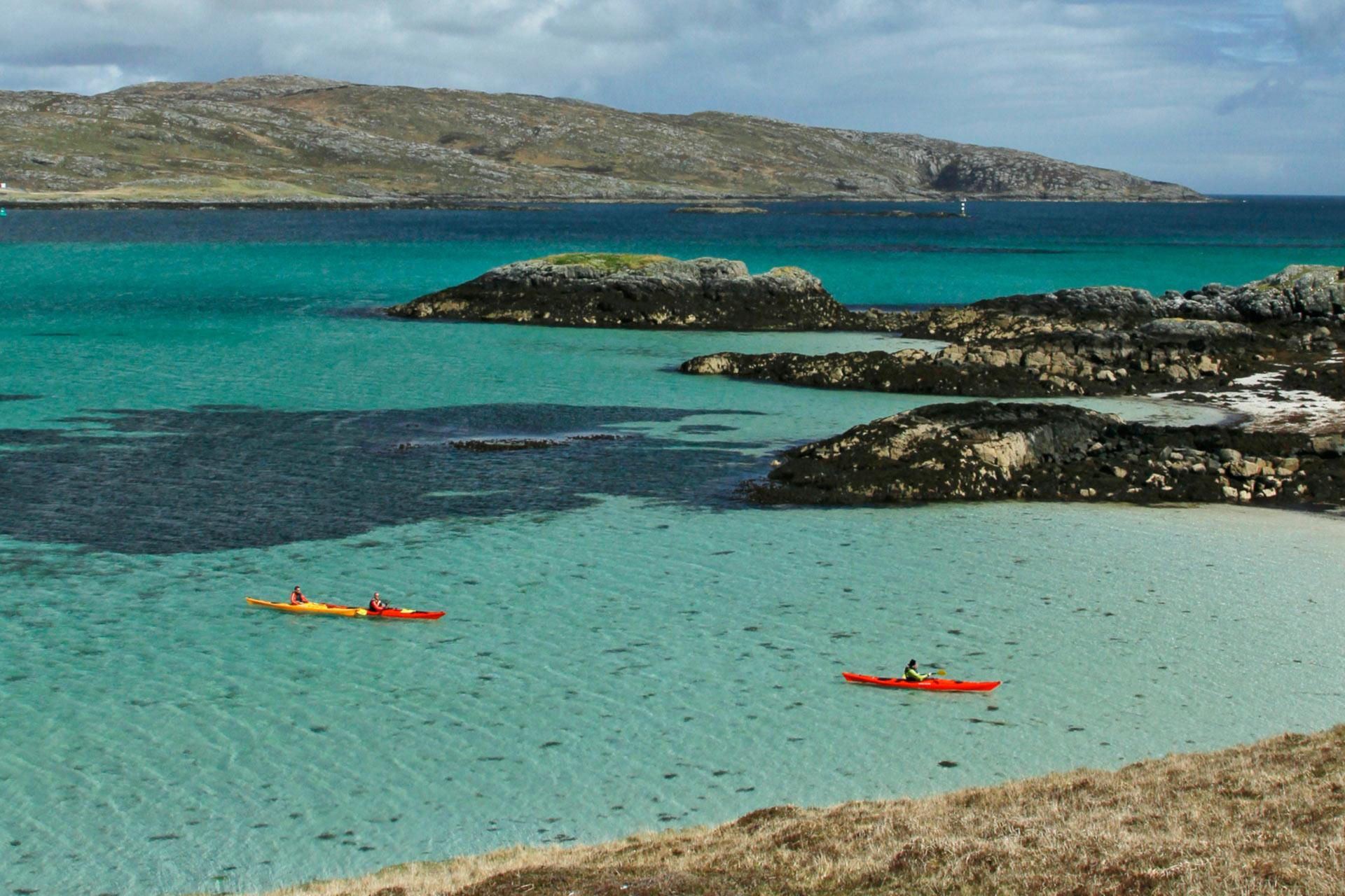 Kayaks in the Hebrides. Wonder if it will look like this in October???
