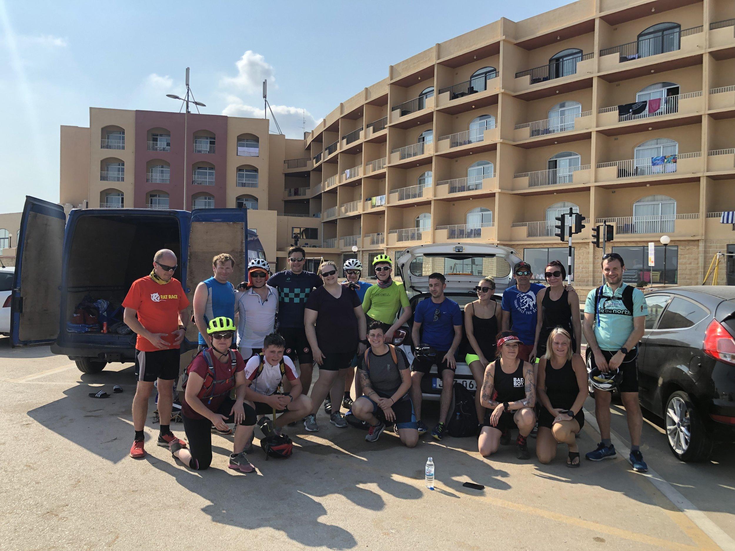 Squad assembles. Spot the cyclists.  Photo: Julius Naim