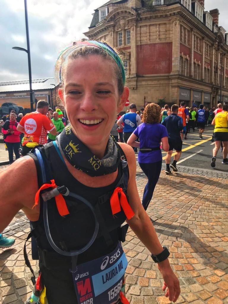 Our first team member Laura, looking glorious at Manchester marathon.