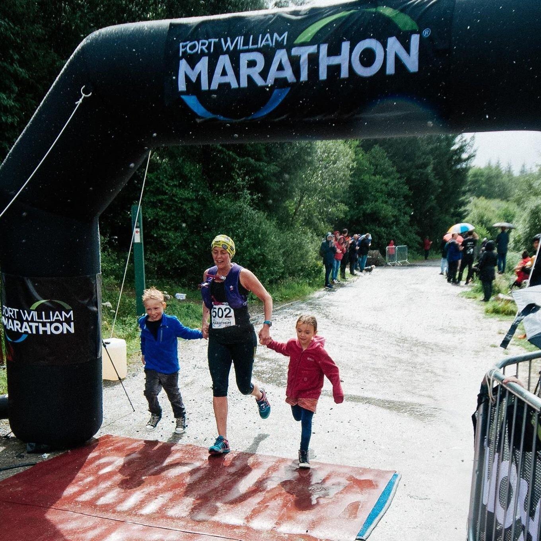 Setting that example to her children at Fort William Marathon.