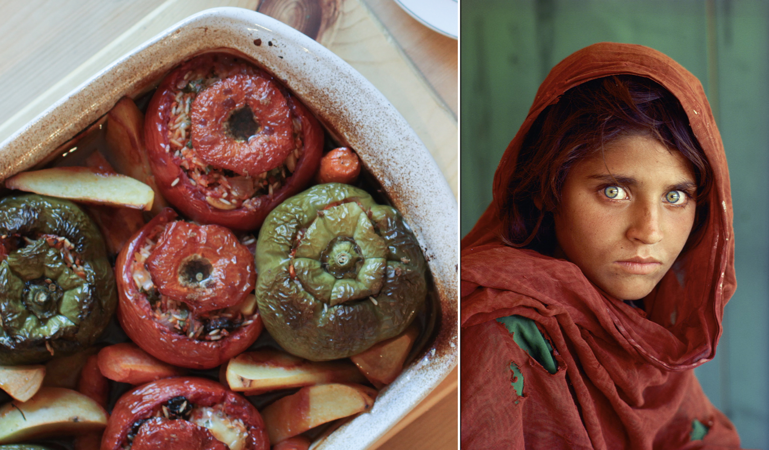 Right:  Afghan Girl , Steve McCurry (Sharbat Gula pictured), 1985,published on the cover of National Geographic in 1985