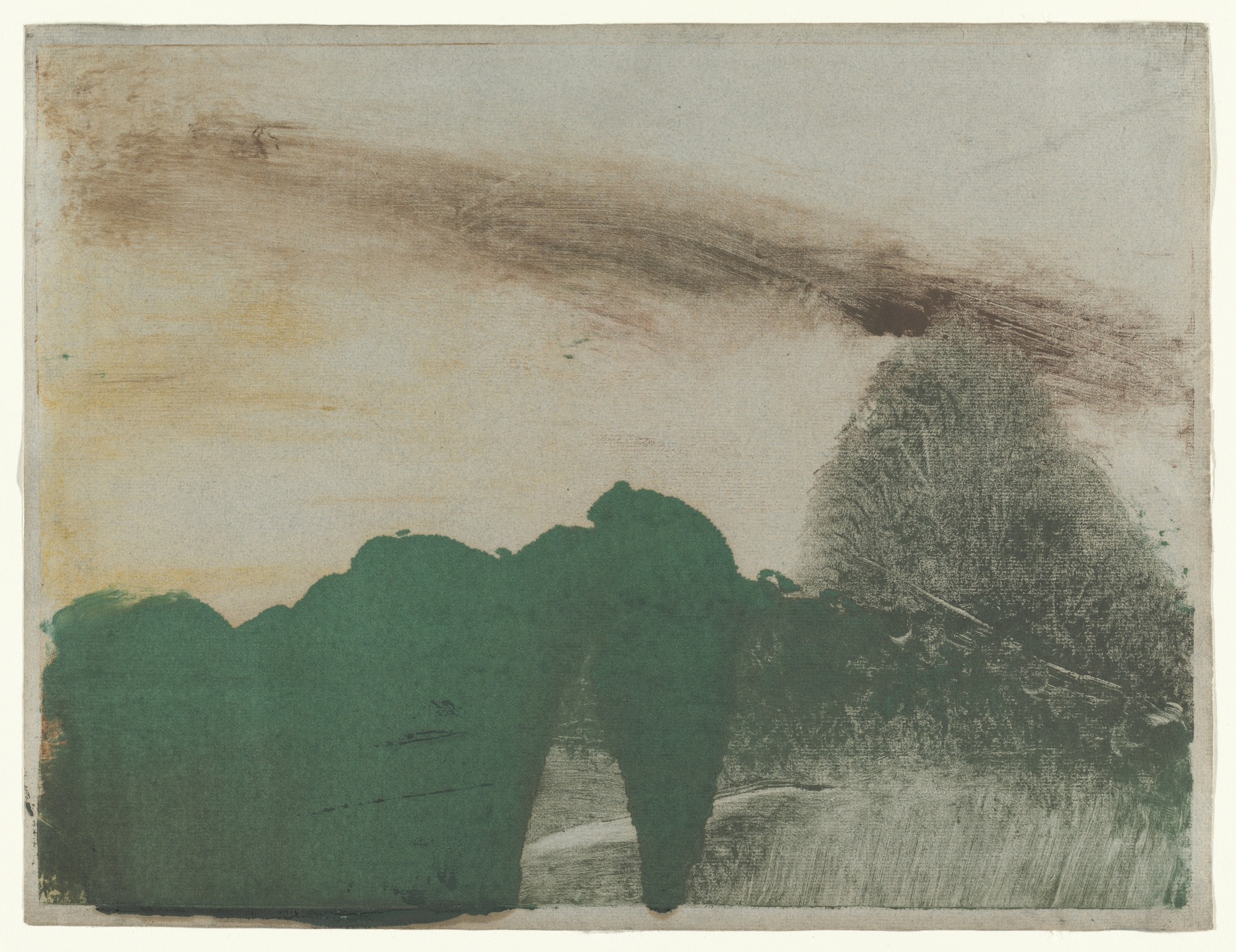 Forest in the Mountains  (Forêt dans la montagne), Hilaire-Germain-Edgar Degas, c.1890. Monotype in oil on paper