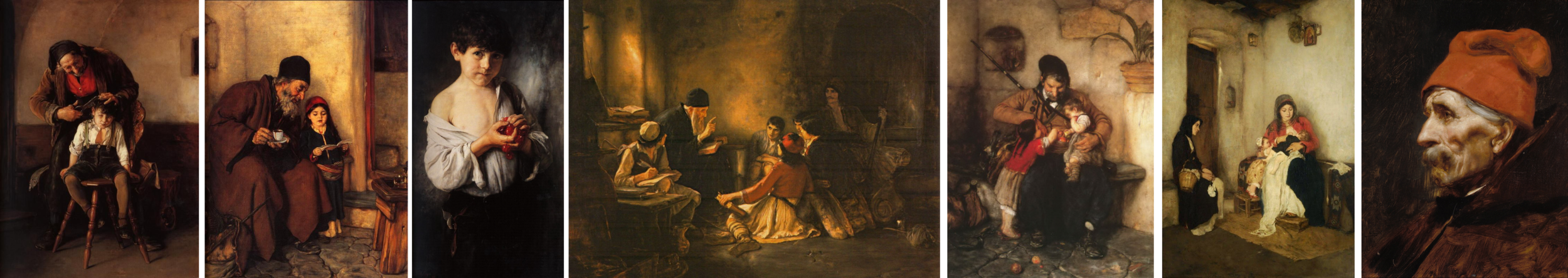 Paintings by Nicholas Gyzis, note the use of red. Left to right:  The Barbe r (1880),  First Learning  (1868), Boy with Cherries  (1888),  The Secret School  (1885),  Grandfather of Two  (date unknown), The Stepmother  (1883), Old Man Wearing a Red Fez  (date unknown)