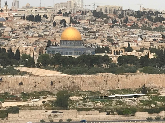Looking in the other direction from the Mount of Olives across the Kidron Valley to the Haram Al Sharif (Dome of the Rock). The cemetery in the foreground has been in continuous use for hundreds of years. The large wall beyond the cemetery, the city's outer wall, was not there in Jesus' day.