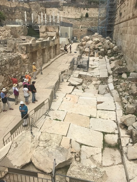 Stones from the second Temple lie where they fell following the Romans' destruction of it in 70 AD (see top of photo). According to our guide, Jesus probably walked on this wide street within the Temple precincts during one of his visits to Jerusalem.