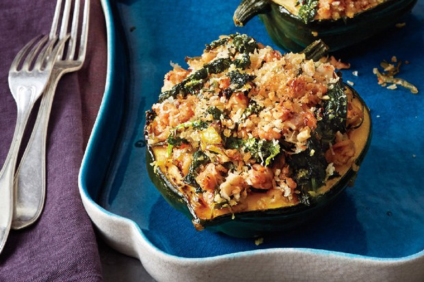 Acorn Squash Stuffed with Kale and Sausage