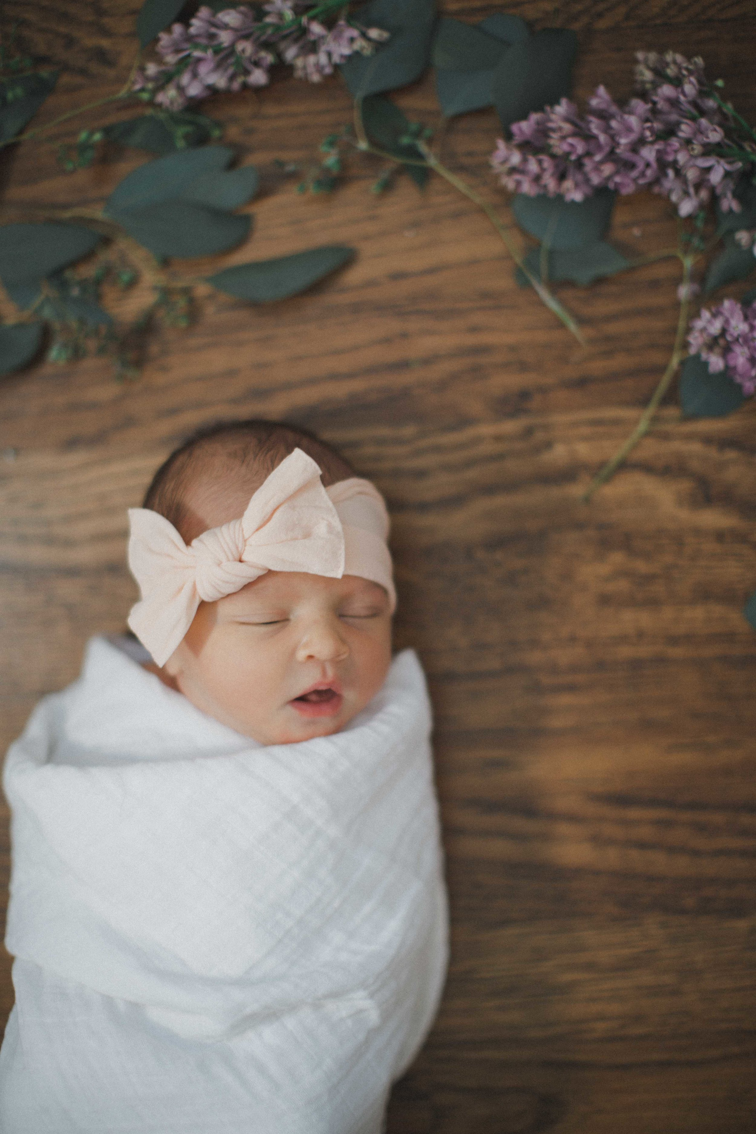 Eloise Newborn Session, Fort Worth newborn photography, natural light newborn photography, flowers newborn photo, delphinium newborn, fort worth photographer, natural light photography, window light newborn, newborn bows, newborn film, newborn lifestyle photos