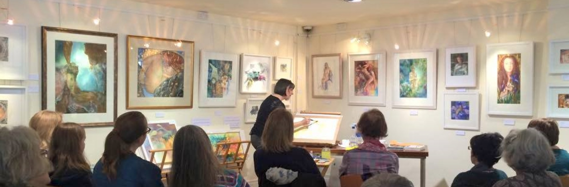 Painting Demonstration at my exhibition Of Woman: Exploring the Sacred Feminine (in Dún Laoghaire Art Gallery)
