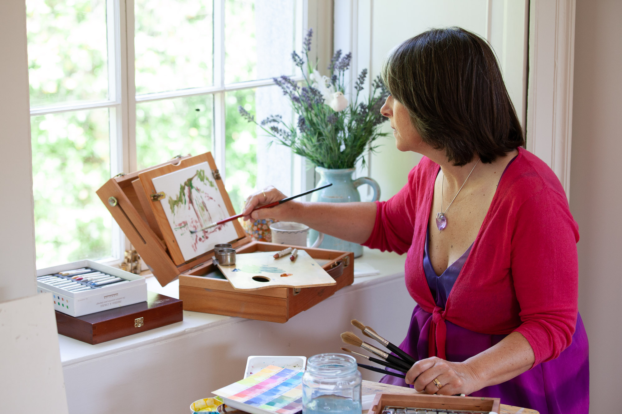 The deep window sills are perfect for holding my art materials and new pochade box for my oils