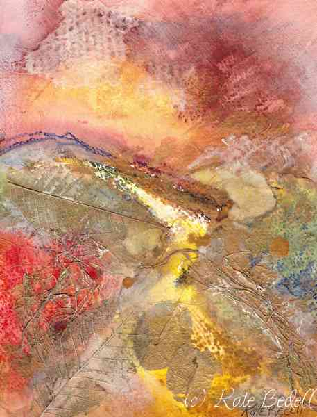 Autumn Ablaze 9 x 7 inches Watercolour, Dried Leaves and Textured Paper