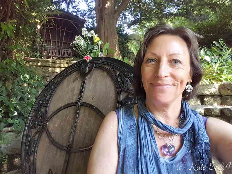Couldn't resist a selfie.... At the chalice Well showing the wooden lid adorned with the Vesica Piscis symbol in sacred geometry.