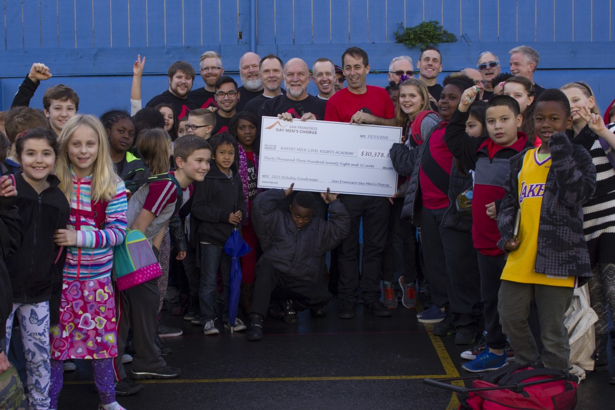 SFGMC presents a check for $30,378.32 to the Harvey Milk Civil Rights Academy