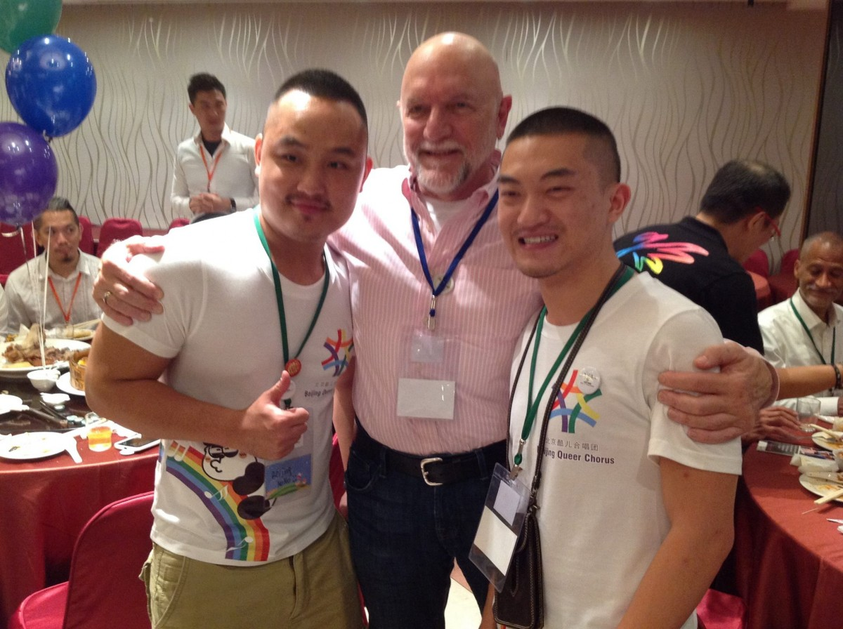 SFGMC Artistic Director Dr. Timothy Seelig and two members of the Beijing Queer Chorus on Tim's recent trip to Taipei for the first ever Asian LGBT Choral Festival, where he represented SFGMC. Choirs performing came from China, Japan, Korea, Singapore, Taiwan, the United Kingdom and the United States.