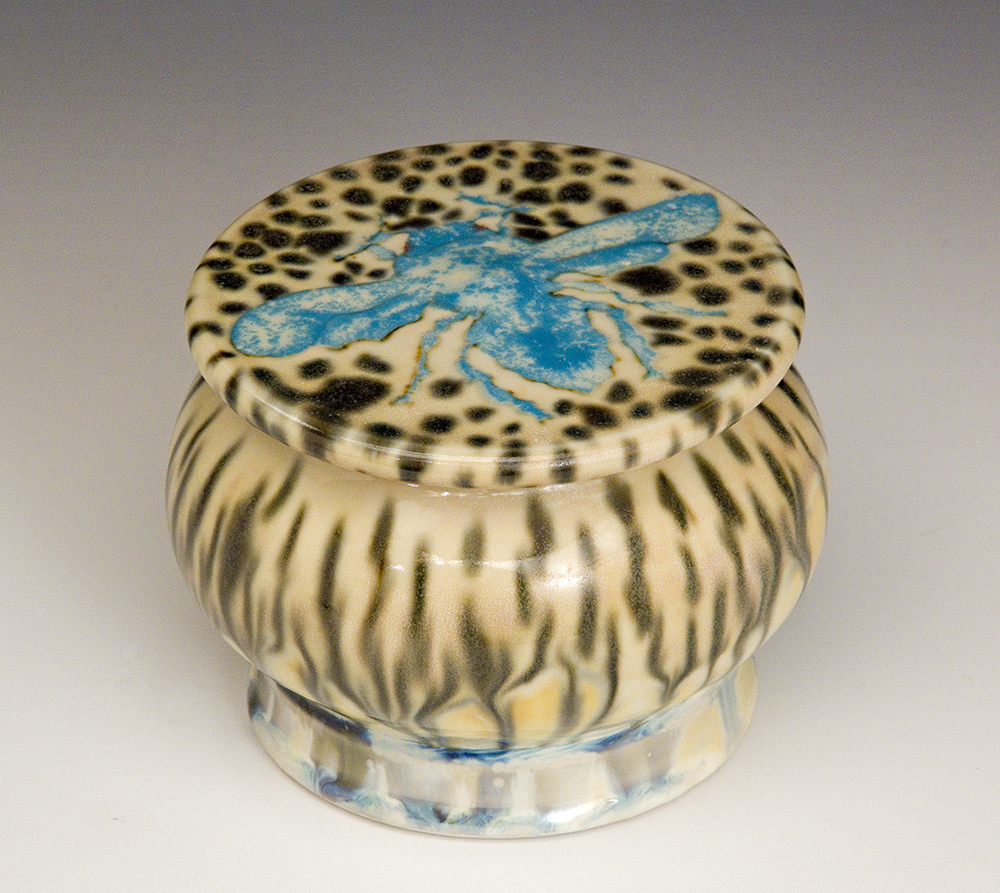 Blue Fly Mushroom Covered Jar made by Samantha Henneke
