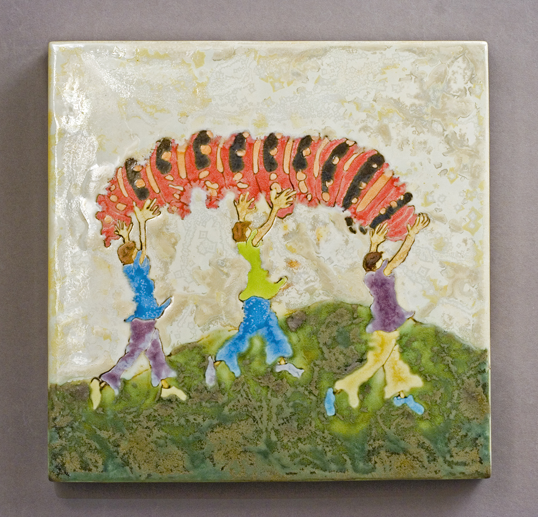 Girls and Caterpillar, glaze painting made by Samantha Henneke
