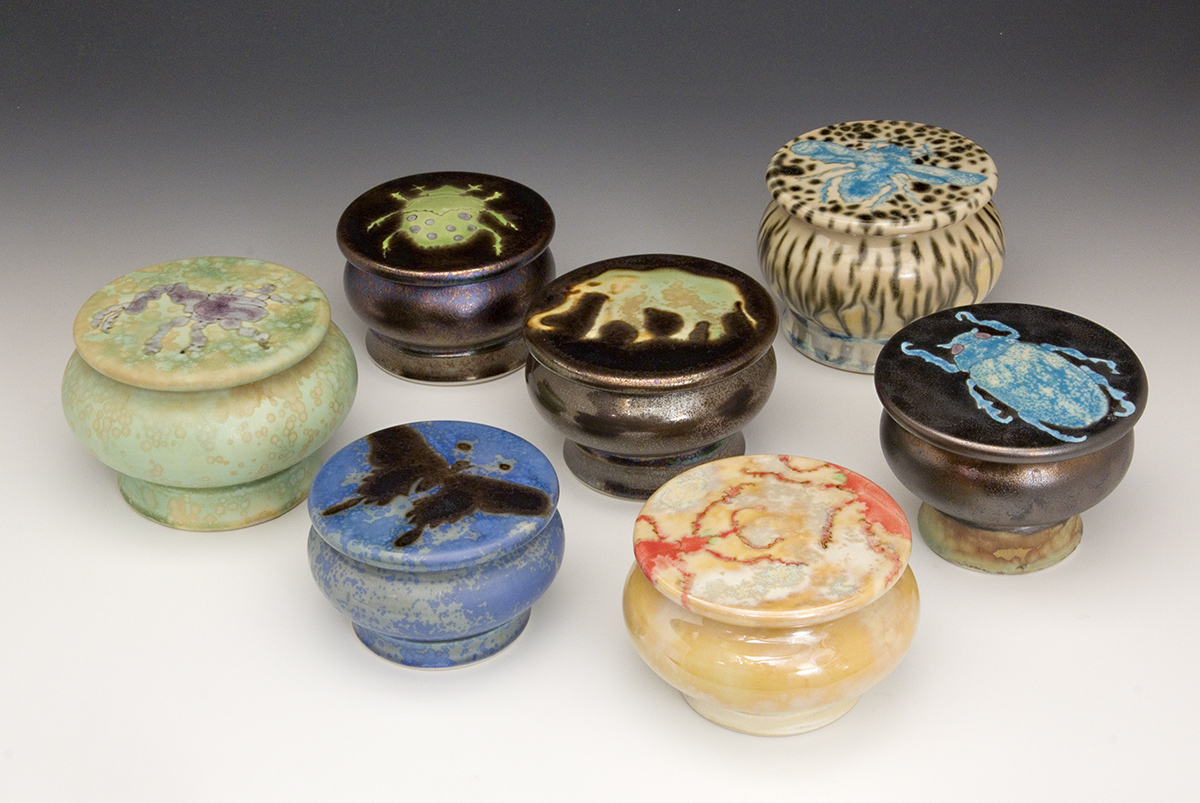 Mushroom Jar grouping - Beetles, Butterfies, Moths, and Elephants