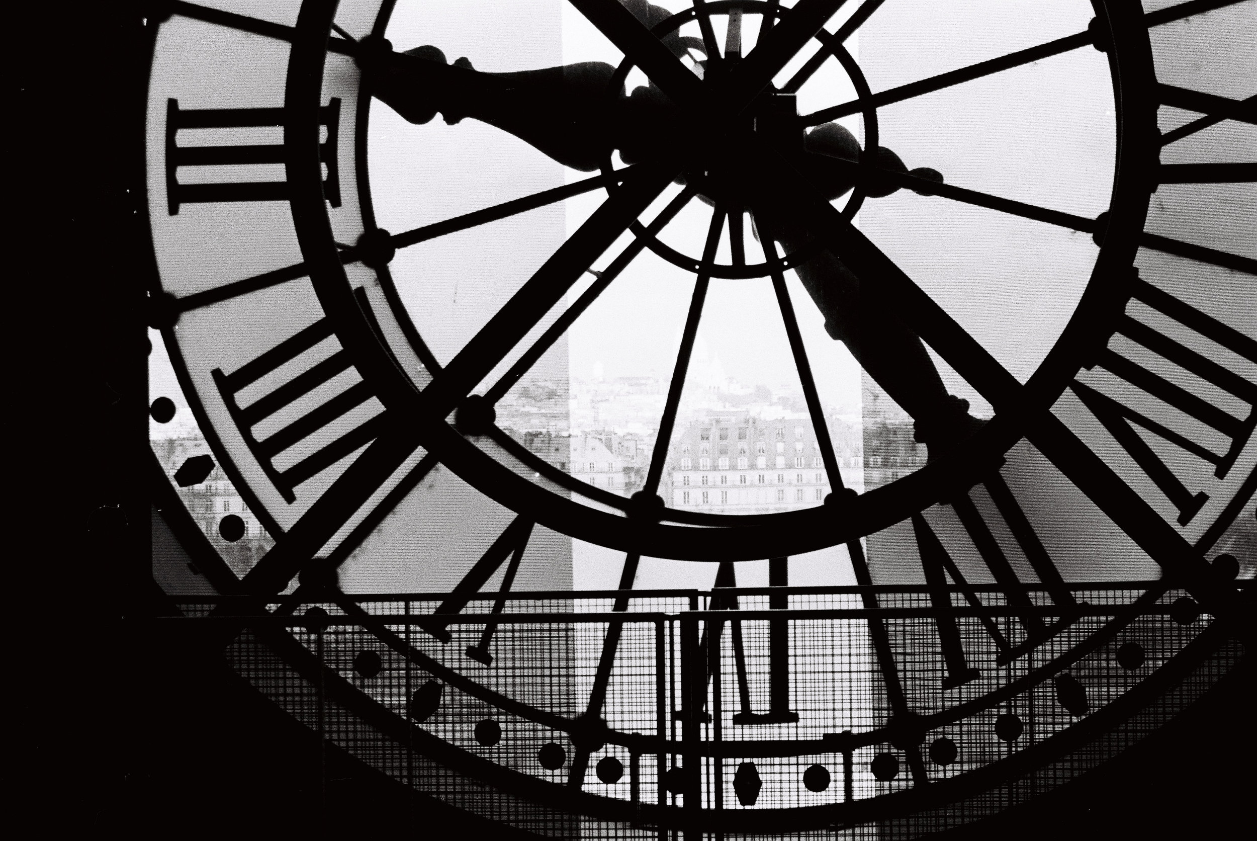 Musee d'Orsay clock in black and white @rebeccaplotnick Every Day Parisian