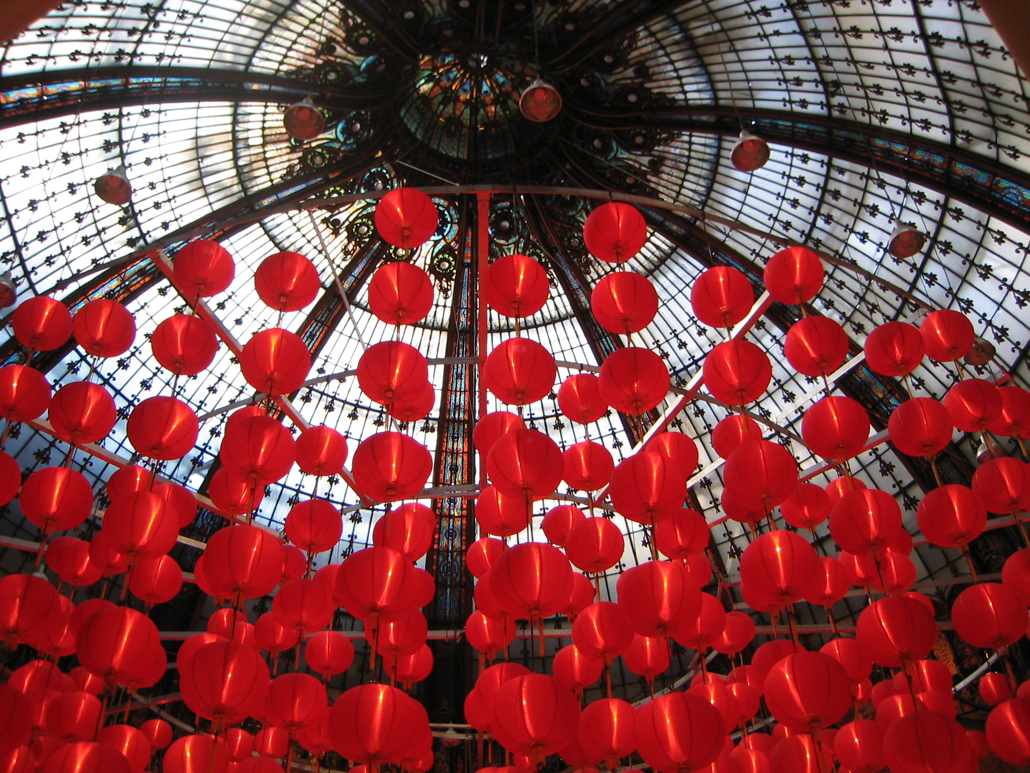 galleries lafayette red lanterns in Paris France @Rebeccaplotnick