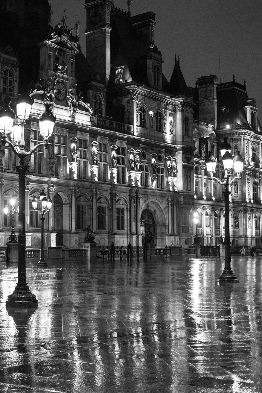 Paris in the Rain Black and White. Rebecca Plotnick
