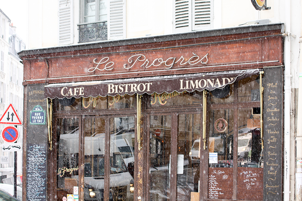 le progress cafe in montmartre in the snow @rebeccaplotnick
