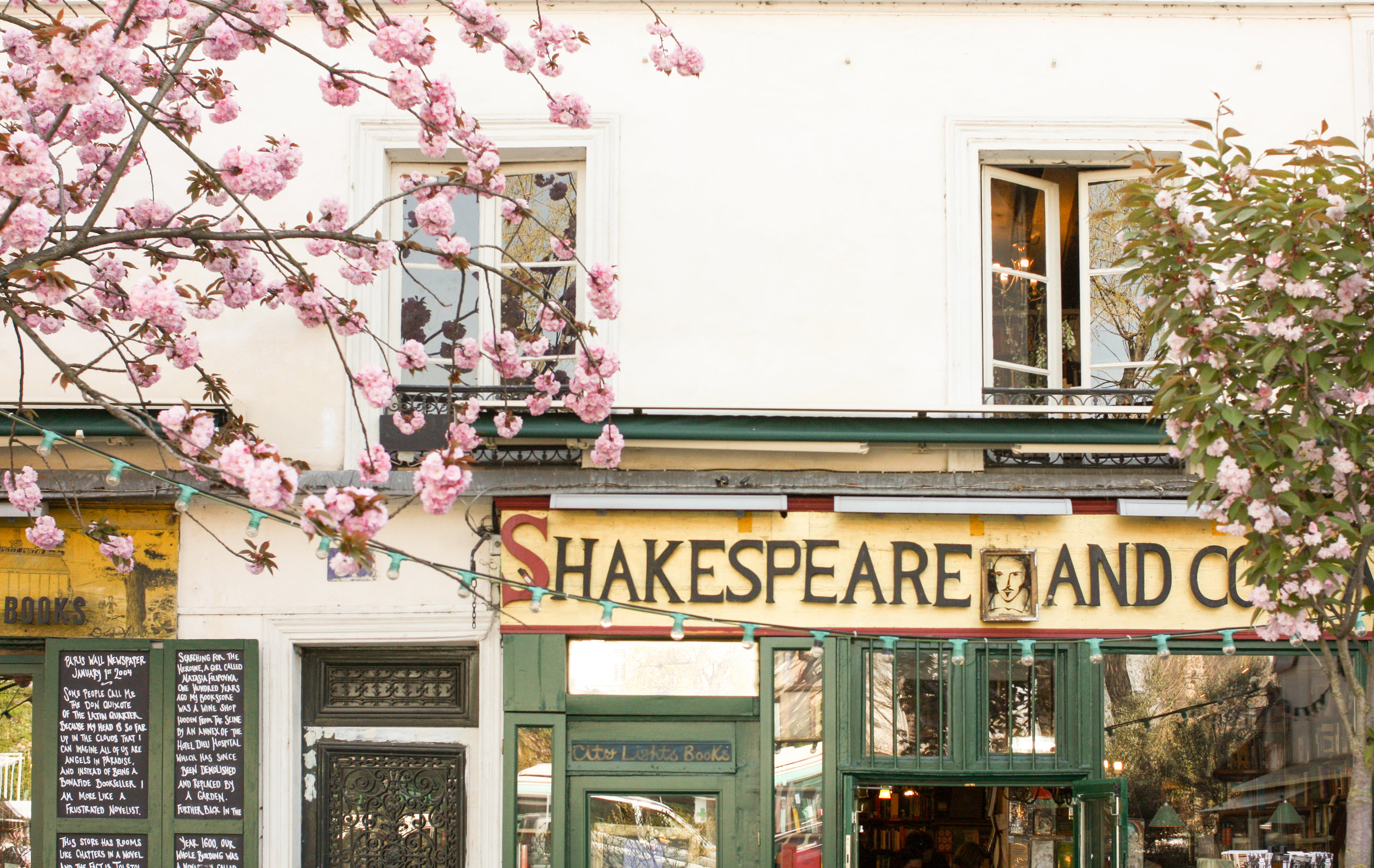 Shakespeare and Company Cherry Blossoms in Paris