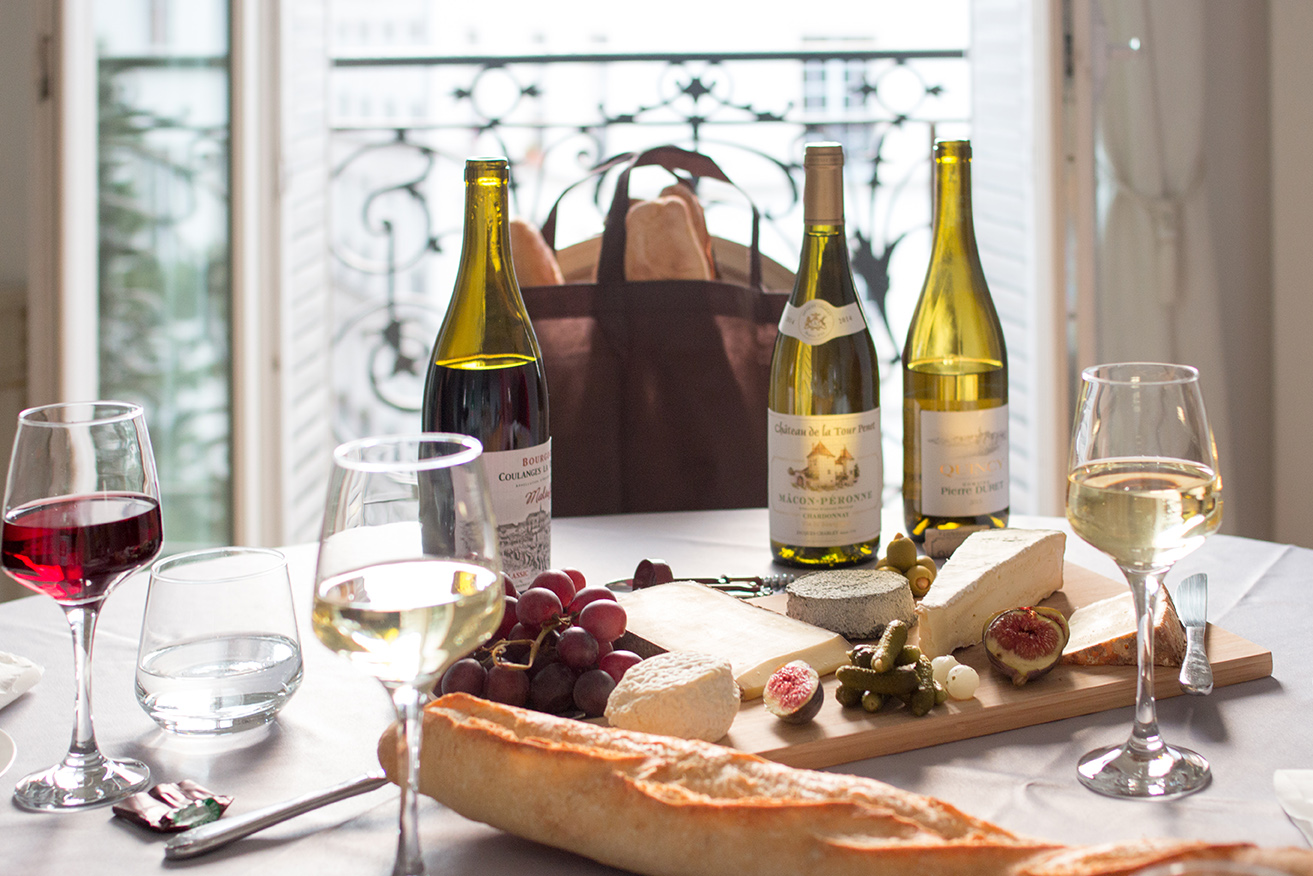 wine, cheese, baguette picnic date with every day parisian