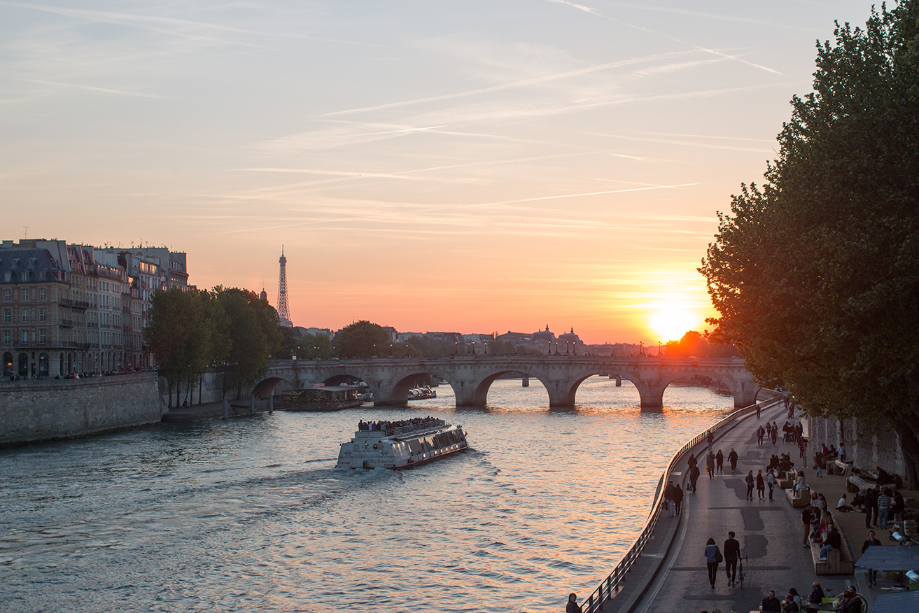 sunset on the seine in paris france