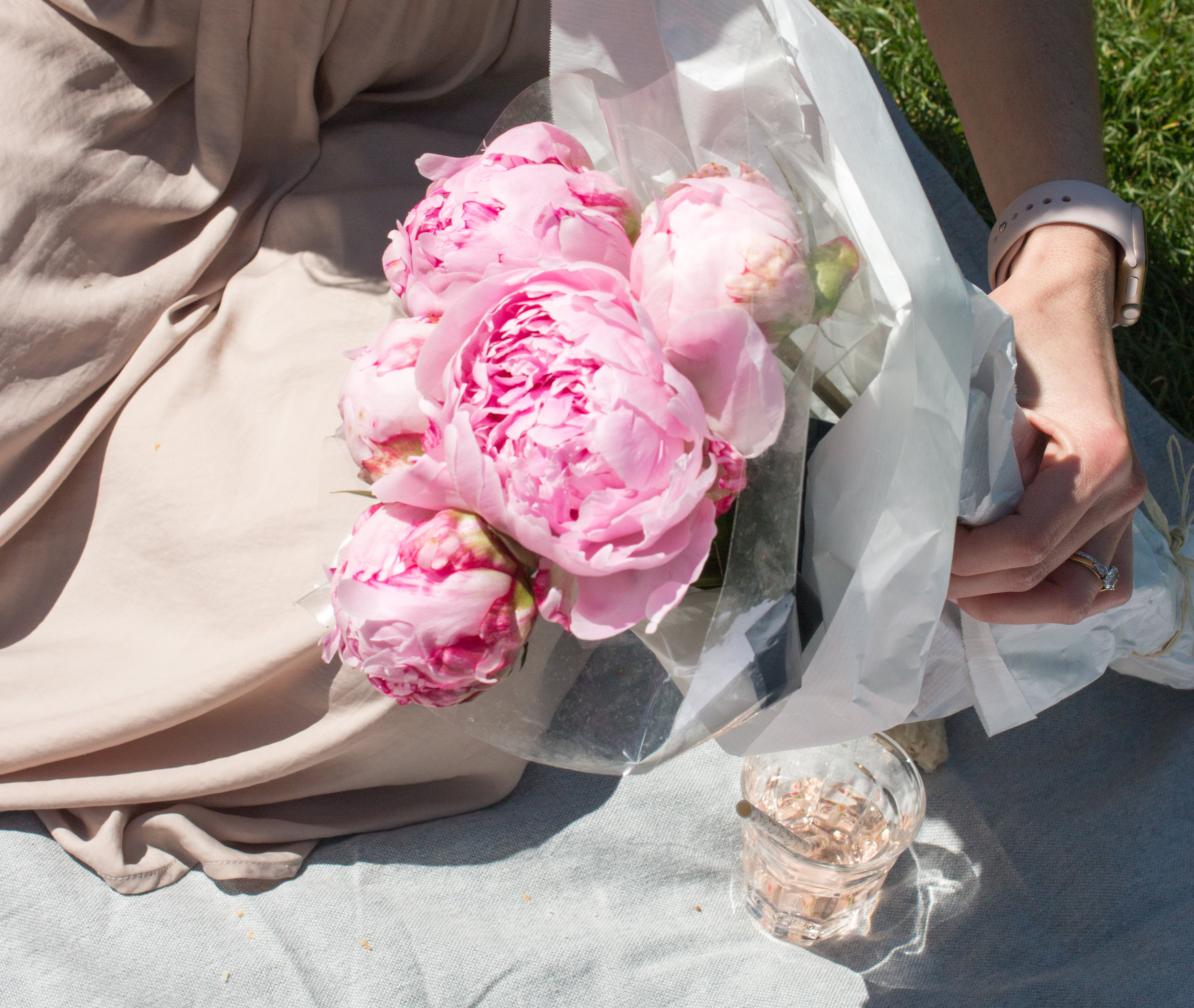 pink peonies at the paris picnic with fat tire