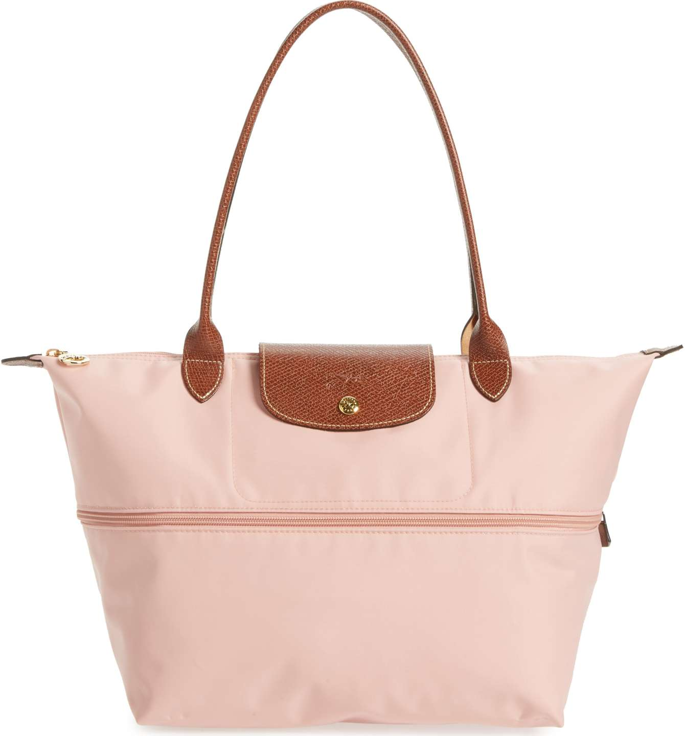"longchamp ""le pliage"" expandable tote in baby pink"