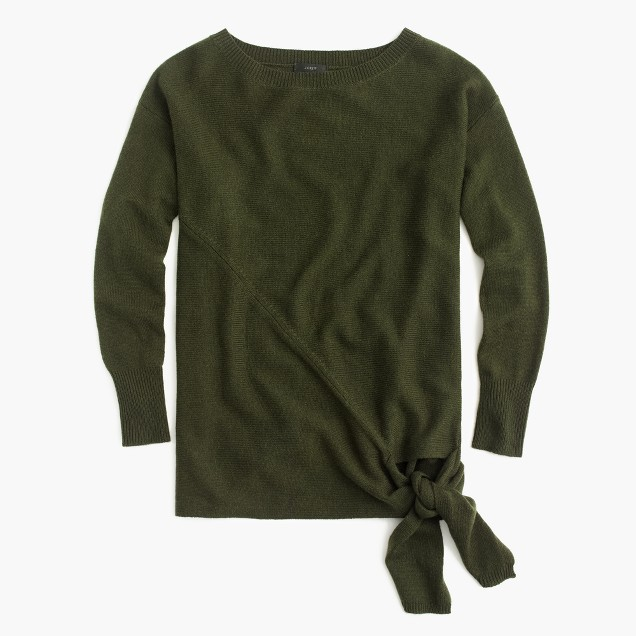 Olive Green Jcrew Tie Front Sweater