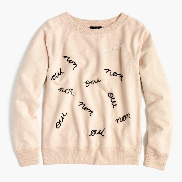oui non sweatshirt