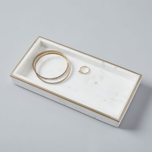 brass and marble tray