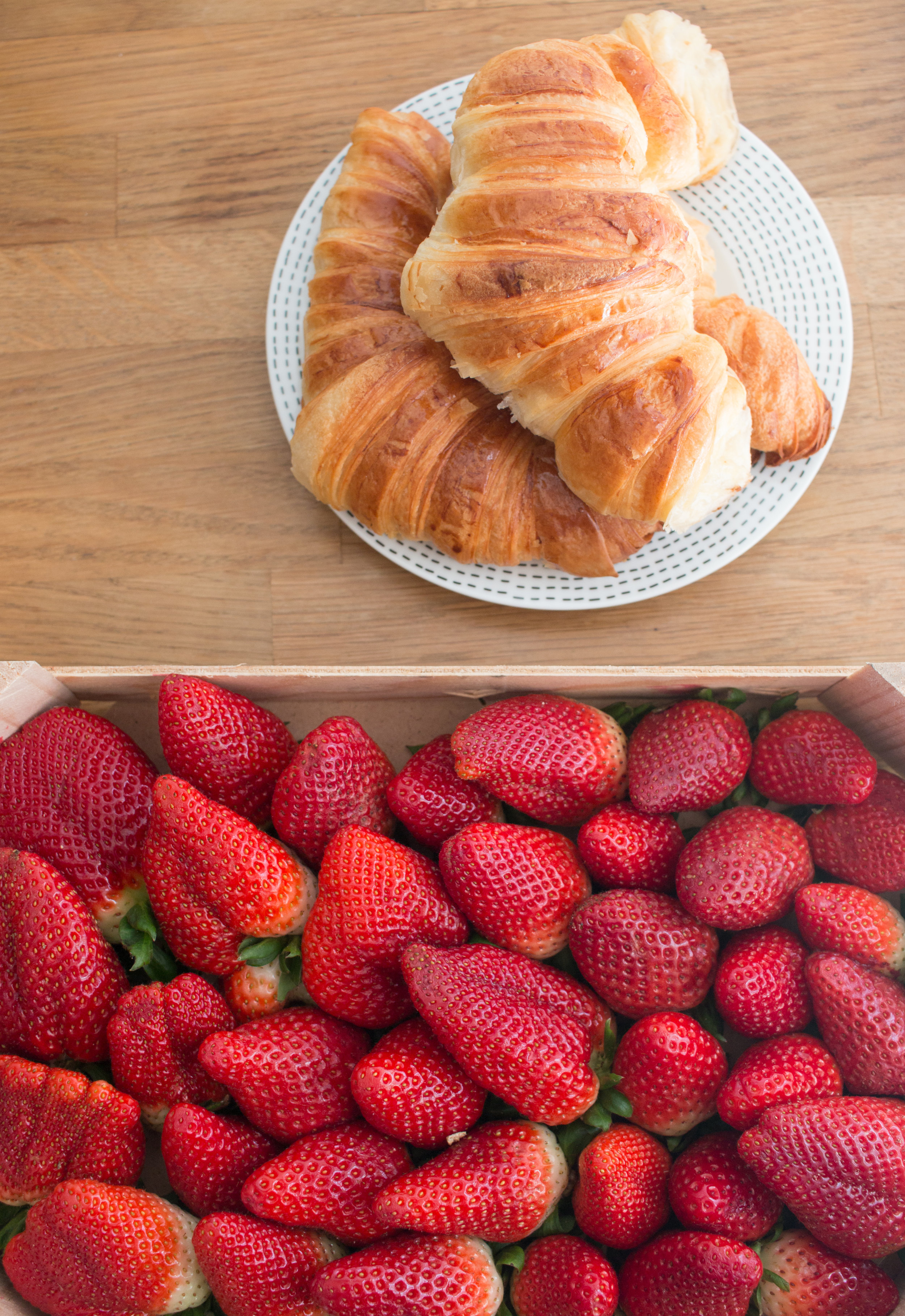Strawberries and croissants Paris, France