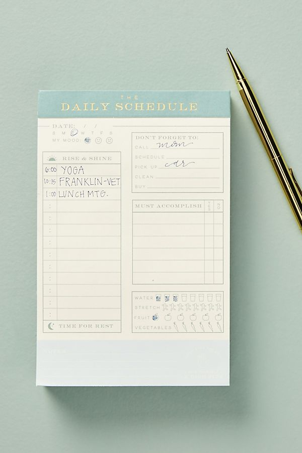 daily schedule notepad rifle paper company