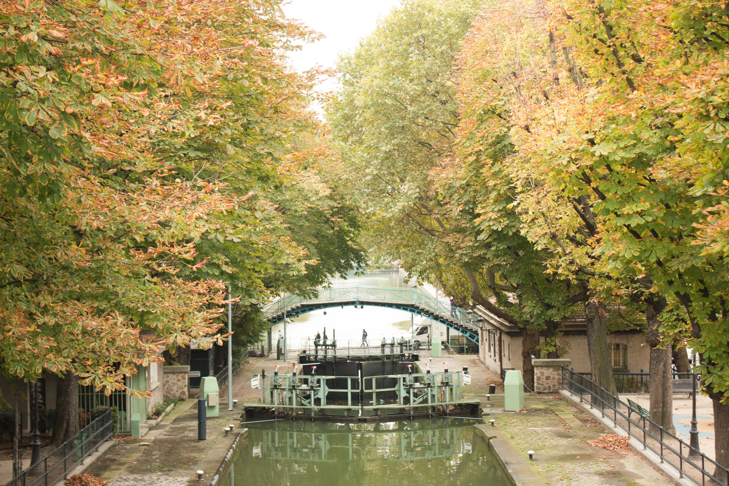 canal st martin in paris france fall in paris