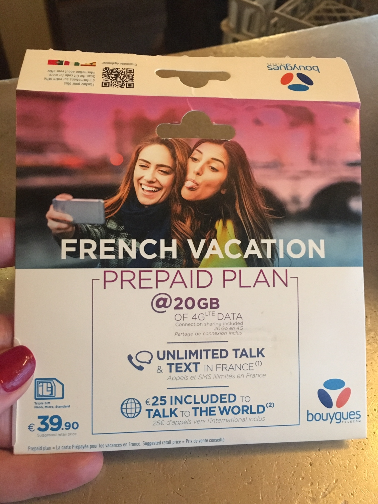 sim card in France 40 euros prepaid plan