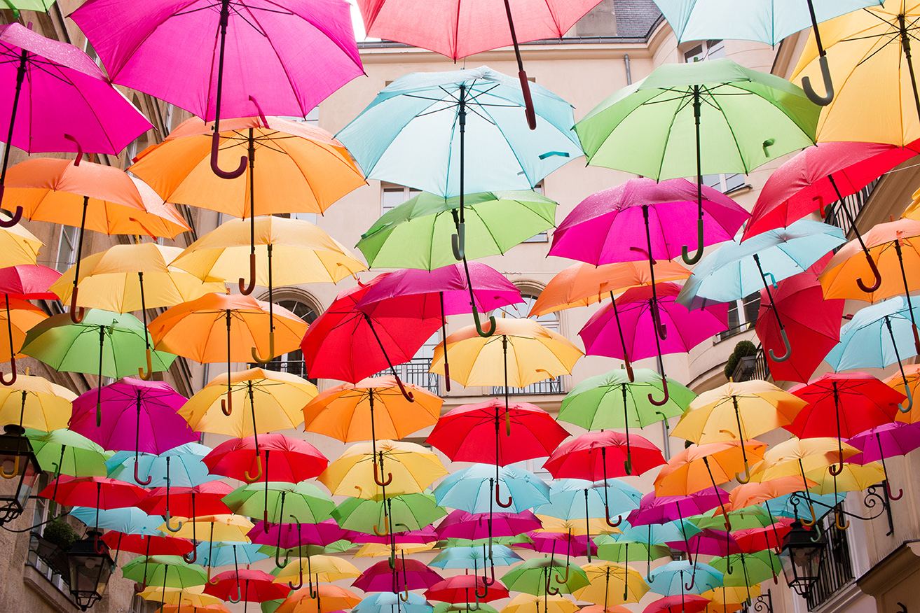 royal village colorful umbrellas paris france