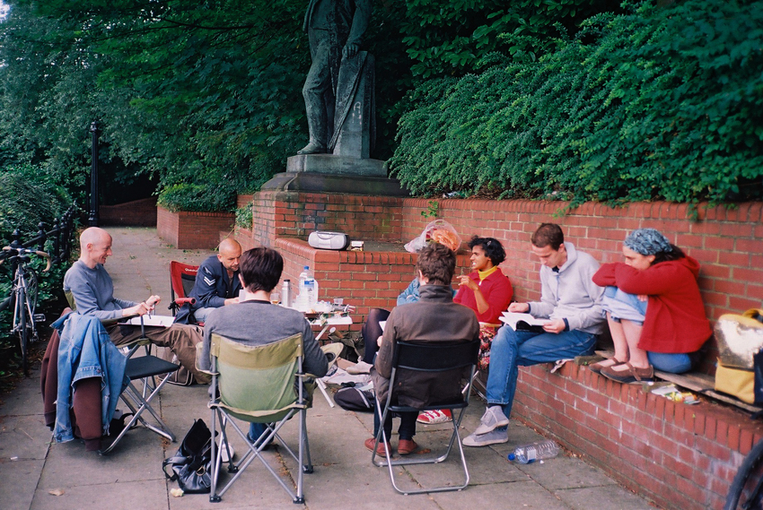 Outdoor reading group at the site of Joseph Brotherton statue (2011)
