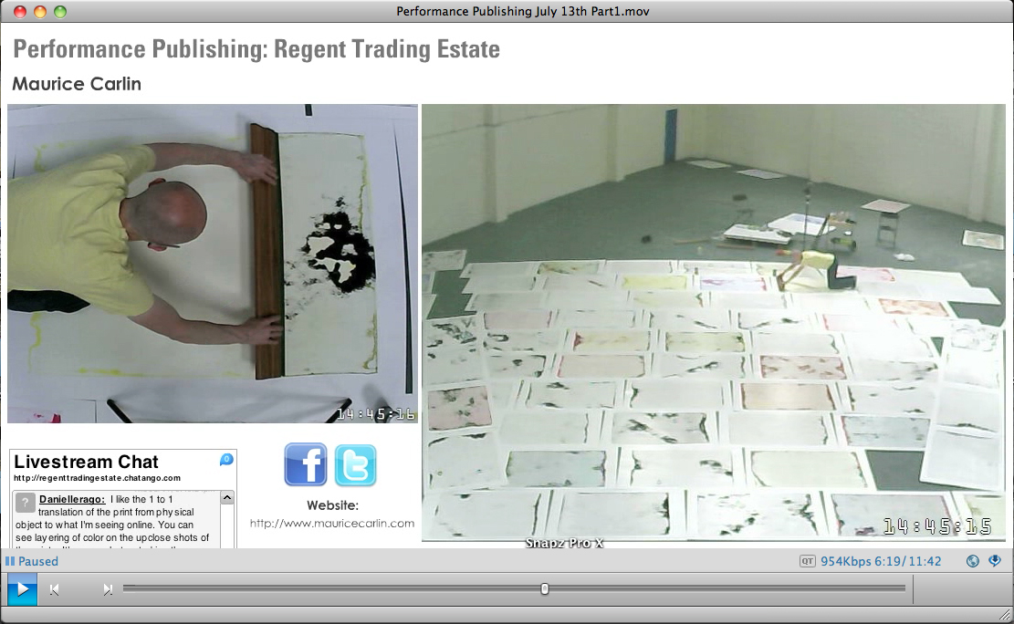 Performance Publishing: Regent Trading Estate (2013), Screenshot from webstream