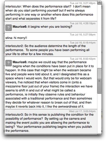Performance Publishing: Regent Trading Estate (2013), Screenshot from live webchat