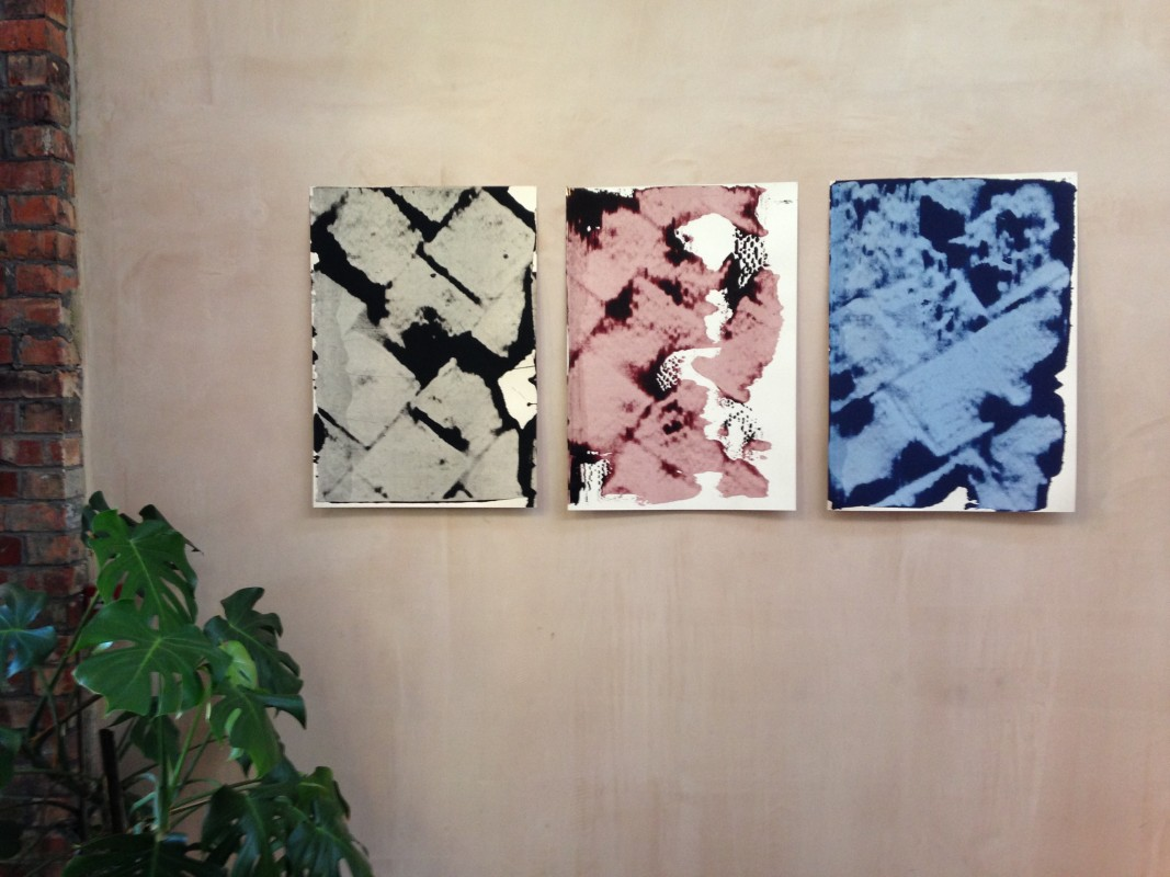 Test pieces for single colour monoprint series, ISO size A1 (59 x 84cm), displayed at Islington Mill B&B, June 2016.